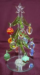 LS Arts Crystal Mini Christmas Tree Ornaments Green Mirrored Base Handmade