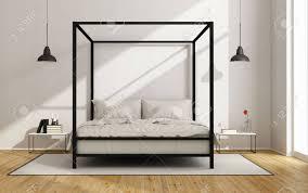 chambre baldaquin chambre blanche avec lit à baldaquin dans un style minimaliste