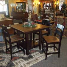 Square London Pub Table Set, Shown In Rustic Cherry With A Two-Tone Finish