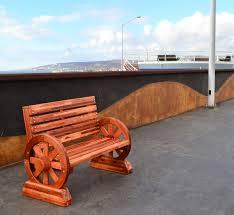 redwood wagon wheel bench custom redwood seating