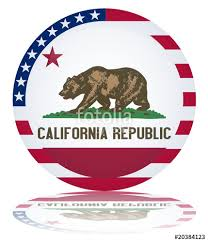 Californian State Round Flag Button California Republic Vector