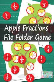 Apple Fractions File Folder Game