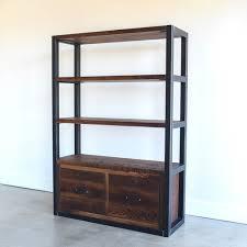 Industrial Reclaimed Wood Bookshelf Steel Frame