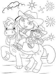 Popular Character Free Coloring Activity Dora The Explorer And Boots On Horseback