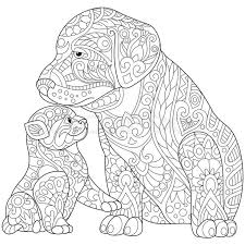 Adult Coloring Page Kitten Easy Pages Mandala Puppy