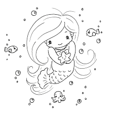 Hello Kitty Cute Mermaid Coloring Pages Cartoon