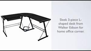 Z Line Claremont Desk by Walker Edison Soreno 3 Piece Corner Desk Black With Black Glass