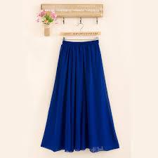 women double layer chiffon long maxi dress elastic waist