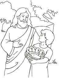 Jesus Fed The People Coloring Simple Feeds 5000 Page