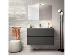 badezimmer badmöbel 90 cm aus mattgrauem holz mit porzellan waschtisch zubehör standard