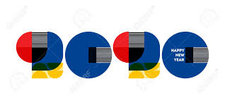 100 Bauhaus Style Style Numbers 2020 And Happy New Year Greetings Isolated
