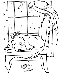 Pet Animals Coloring Pages Of Christmas Evening