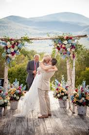 Colorful Rose And Baby Blue Hydrangea Wedding Arch Ideas