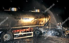 100 Tanker Truck Explosion German Firefighters Secure Scene Editorial