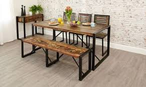Reclaimed Wood Dining Table With Bench And Chair