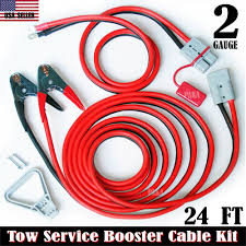 100 Tow Truck Jumper Cables 2 GAUGE 24 FT QUICK DISCONNECT JUMPERBOOSTER CABLE SETTOWSERVICE
