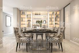 3d Rendering Dining Set In Modern Luxury Room Near Door Royalty Free Stock Photo