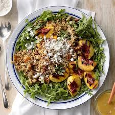 Grilled Peach Rice Arugula Salad