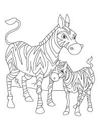 Zebra Mother Standing With Its Just Born Foal Coloring Page