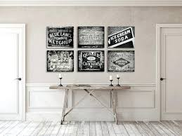 Black And White Kitchen Wall Decor Prints Or Canvas Art Rustic