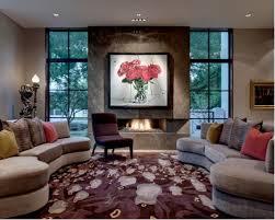 fireplace between windows houzz