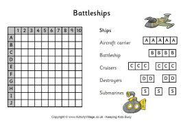 Battleship Game Template Battle Ships Instructions Ideas