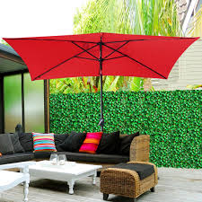 Solar Lighted Offset Patio Umbrella by Rectangle Patio Umbrella Red Home Outdoor Decoration