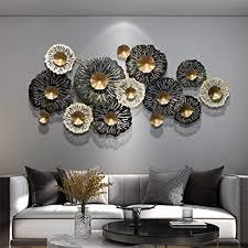 jsbvm wanddeko metall kreative handgemachte large goldene blume skulpturgrafik 3d metallwanddekoration kunst wandskulpturen wohnkultur 130 x 65 cm