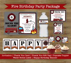 Firefighter Birthday Party Package; Fire Truck Birthday Invitation ...