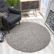 sanat teppich rund hellgrau hochflor langflor modern teppiche fürs wohnzimmer schlafzimmer esszimmer oder kinderzimmer größe 80x80 cm