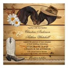 Country And Western Wedding Invitation Featuring Two Horses Horseshoes Cowboy Boot With Daisy Flowers
