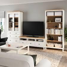 hemnes tv möbel kombination weiß gebeizt hellbraun klarglas 326x197 cm