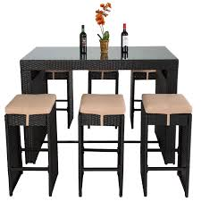 Bcp Outdoor Wicker Bar Dining Patio Set Glass Table Top With Rattan Chairs Stools Counter Height