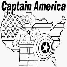 Lego Coloring Pages Printable Marvel Superheroes Captain America Sheet Download