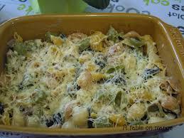 gratin de pâtes au mascarpone chignons lardons a table