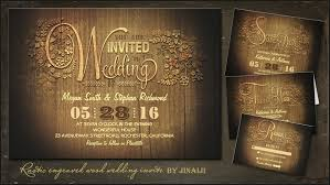 Engraved Wood Floral Rustic Wedding Invitations