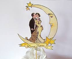 Customized Banner Crescent Moon Wedding Cake Topper Vintage Bride And Groom
