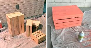 She Spray Painted Wooden Crates And Stacked Them On Her Front