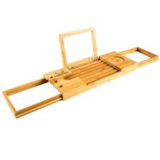 Bamboo Bathtub Caddy With Reading Rack by Premium Bamboo Bath Caddy Luxurious Wooden Bathtub Tray Book