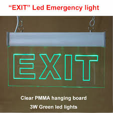 free shipping led light emergency exit sign clear pmma acrylic