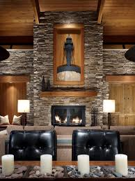 Rustic Stone Fireplace Living Room