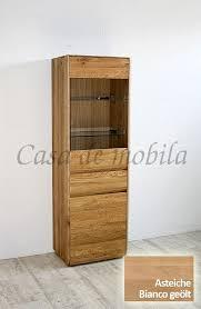vitrine nyon 62x191x42cm rustikale asteiche bianco geölt wohnzimmerschrank gerundete form
