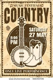 Country Music Festival Poster In Vintage Style With Banjo Guitar And Cowboy Boots Vector Illustration For