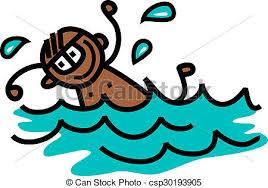 Swimming Boy Happy Stick In The Pool Cute Cartoon