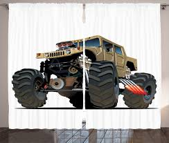 100 Monster Truck Bedroom Cartoon Curtains 2 Panels Set Extremely Large Giant Pickup