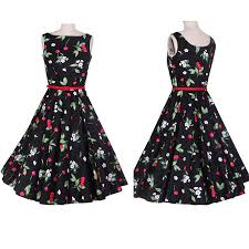 Europe Font B 50s Retro Print Dress Pattern