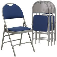4 Pk. HERCULES Series Ultra-Premium Triple Braced Navy Fabric Metal Folding  Chair With Easy-Carry Handle