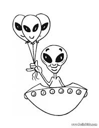 Alien In The Spaceship Coloring Page