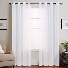 topick voile vorhang mit ösen transparent gardine gaze paarig ösenschals für wohnzimmer schlafzimmer weiß 225 x 140 cm h x b 2er set