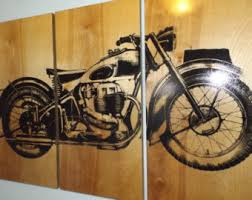 Vintage Ariel Square Four 1949 Motorcycle Screen Print Wood Painting Wall Art On Stained Solid BIRCH